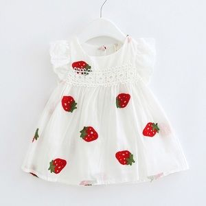Other - Strawberry Print Lace Flutter Sleeve Summer Dress